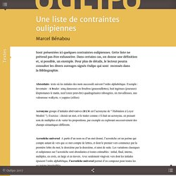 Une liste de contraintes oulipiennes