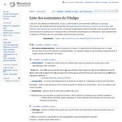 Liste des contraintes de l'Oulipo