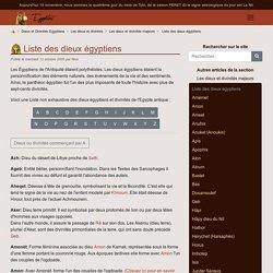 Liste des divinités et dieux egyptiens