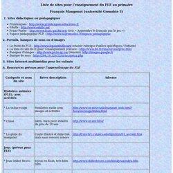 Liste de sites pour l'enseignement du FLE au primaire