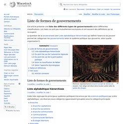 Liste de formes de gouvernements