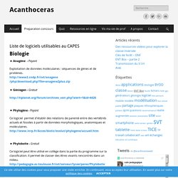 Liste logiciels Capes - Acanthoceras