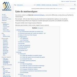 Liste de mnémoniques — Wikilivres