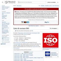 Liste de normes ISO