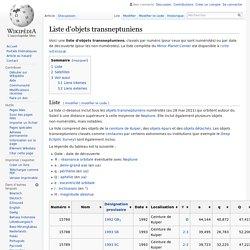 Liste d'objets transneptuniens
