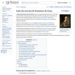 Francisco de Goya - liste des oeuvres