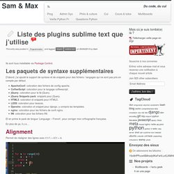 Liste des plugins sublime text que j'utilise