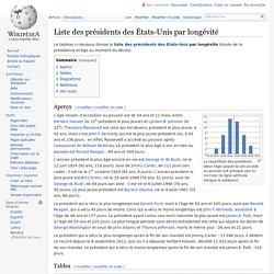 Liste des présidents des États-Unis par longévité