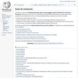 Liste de résistants