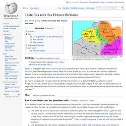 Liste des rois des Francs rhénans