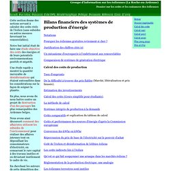 Liste des rubriques sur le calcul des coûts