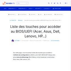 Liste des touches pour accéder au BIOS/UEFI (Acer, Asus, Dell, Lenovo, HP…)