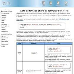 Liste de tous les objets de formulaire en HTML