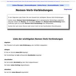 Liste der wichtigsten Nomen-Verb-Verbindungen