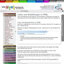 Listen und Aufzählungen mit <li>, <ul> und <ol> - HTML Kurs