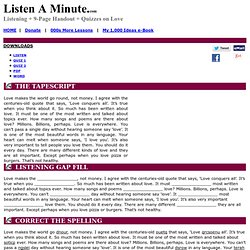 Love: Listen A Minute.com: English Listening Lesson