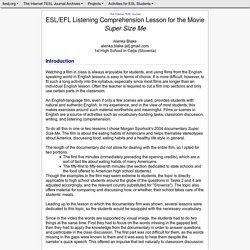 Blake - ESL/EFL Listening Comprehension Lesson for the Movie Super Size Me