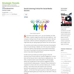 Social Listening Critical for Social Media Success | Strategic Trends