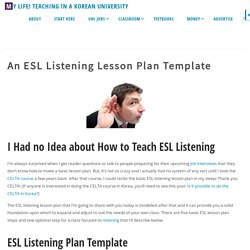 An ESL Listening Lesson Plan Template