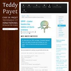 SPIP - Lister toutes les tables et leurs entrées - Teddy Payet