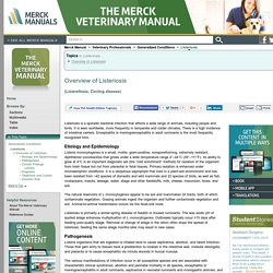 Overview of Listeriosis: Listeriosis: Merck Veterinary Manual
