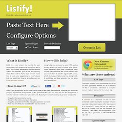 Listify - Convert Text to li / option Elements