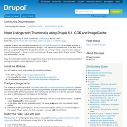 HOWTO: Node Listings with Thumbnails using Drupal 5.1, CCK and ImageCache