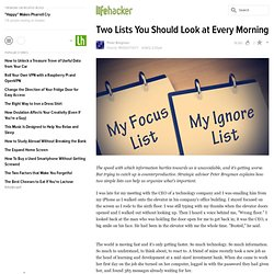 Two Lists You Should Look at Every Morning
