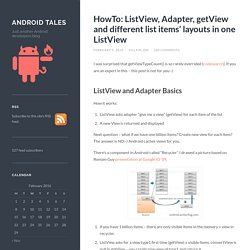 HowTo: ListView, Adapter, getView and different list items' layouts in one ListView