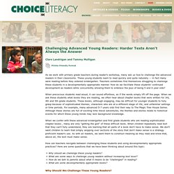 Choice Literacy - Challenging Advanced Readers