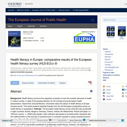 Health literacy in Europe: comparative results of the European health literacy survey (HLS-EU)