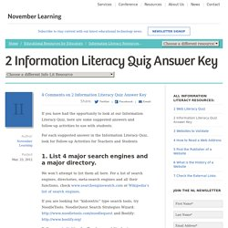 Web Literacy - Information Literacy Answer Key