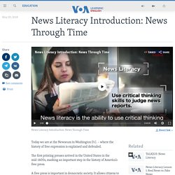 News Literacy Introduction: News Through Time