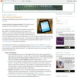 Literacy Journal: Only 1 iPad in the Classroom?