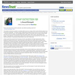 A News Literacy Guide from NewsTrust.net - Crap Detection 101 -