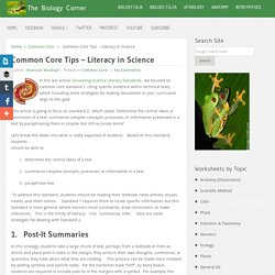 Common Core Tips - Literacy in Science | The Biology Corner