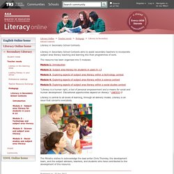 Literacy in Secondary School Contexts / Pedagogy / Teacher needs / Secondary Literacy / Literacy Online / English - ESOL - Literacy Online website - English - ESOL - Literacy Online