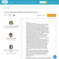 A Literary Analysis of Monster by Walter Dean Myers