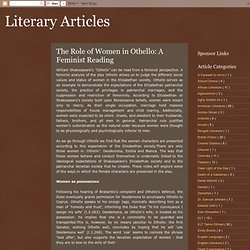 Literary Articles: The Role of Women in Othello: A Feminist Reading