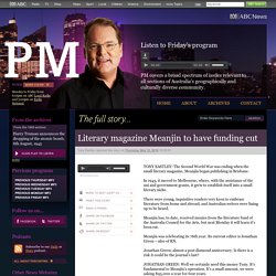 PM - Literary magazine Meanjin to have funding cut 12/05/2016