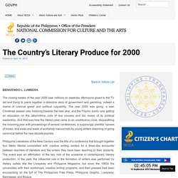 The Country's Literary Produce for 2000 - National Commission for Culture and the Arts