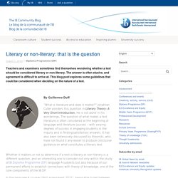 Literary or non-literary: that is the question
