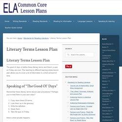 ELA Common Core Lesson Plans