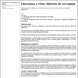 Literatura y Cine: historia de un espejo