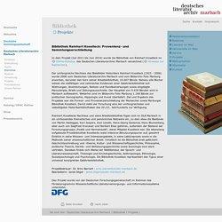 Deutsches Literaturarchiv Marbach: Bibliothek Reinhart Koselleck: Provenienz- und Sammlungserschließung