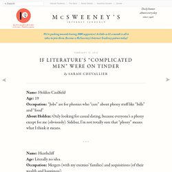 """If Literature's """"Complicated Men"""" Were On Tinder"""