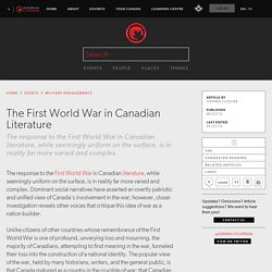 The First World War in Canadian Literature