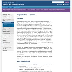 Anglo-Saxon literature - English and Related Literature, The University of York