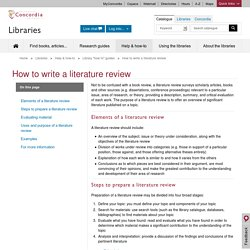 "How to write a literature review · Library ""How To"" Guides · Help & Instruction · Concordia Libraries"