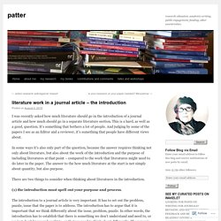 literature work in a journal article – the introduction